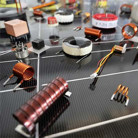 A Picture of toroids, chokes, ferrite transformers, air coils, balun and other inductive components.
